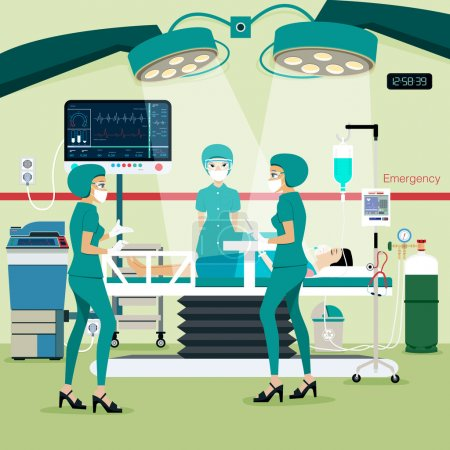 Illustration for Team doctors in the operating room with the patient. - Royalty Free Image