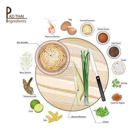 16 Ingredients Pad Thai or Thai Stir Fried Noodles