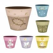 Set of Decorative Flower Pots on White Background
