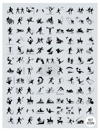 A Set of Black and Gray Sport Icons