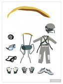 Set of Parachute Equipment on White Background
