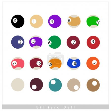 Complete Set of Billiard Balls on White Background