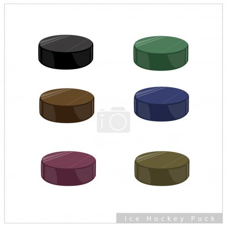 Set of Hockey Puck on White Background