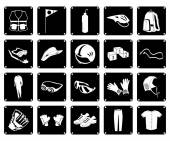 Collection of Sport Accessory Icons on White Background