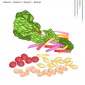 Healthcare Concept Illustration of Rainbow Swiss Chard with Vitamin K Vitamin A Vitamin C and Minerals Tablet Essential Nutrient for Life