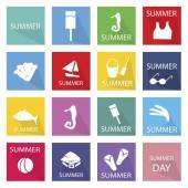 Illustration Set of 16 Summer Season Icon