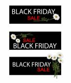 Chamomile Flowers on Black Friday Sale Banner