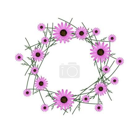 Beautiful Pink Daisy Wreath on White Background