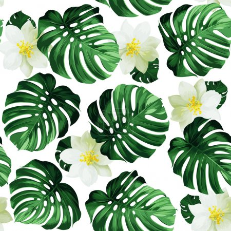 leaves monstera and exotic flowers