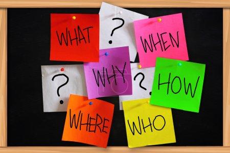 Photo pour Concept de base questions écrites sur papier collant de couleur - image libre de droit