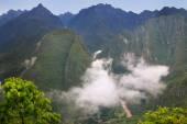 Urubamba River with morning fog near Machu Picchu in Peru