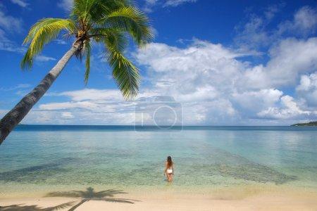 Young woman in bikini standing in clear water, Nan...