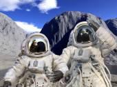 Astronauts on a rocky landscape