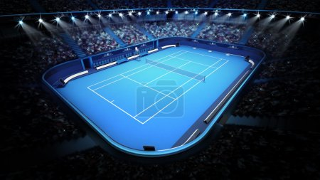blue tennis court and stadium full of spectators from upper view