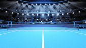 Blue tennis court view and stadium full of spectators with spotlights