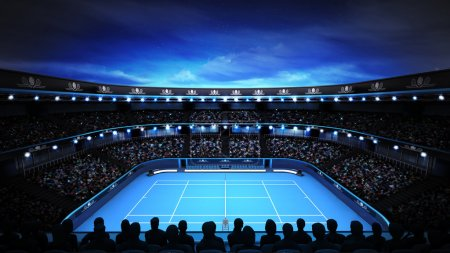 tennis stadium with evening sky and spotlights