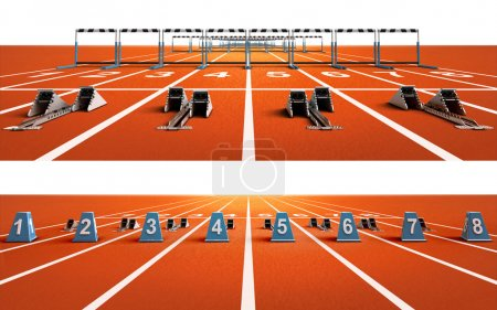 two isolated running tracks with blocks and hurdles
