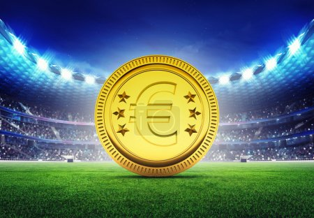 football stadium with golden Euro coin