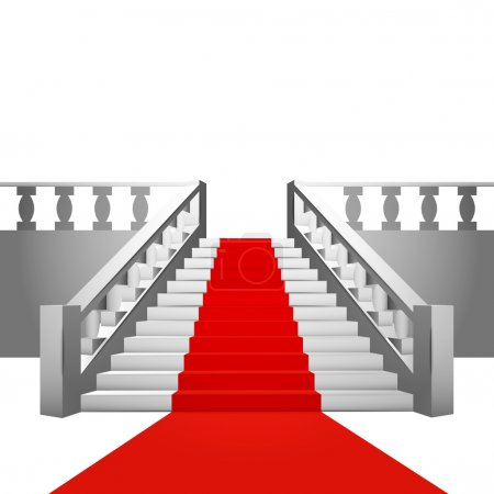 red carpet on baroque staircase on white background