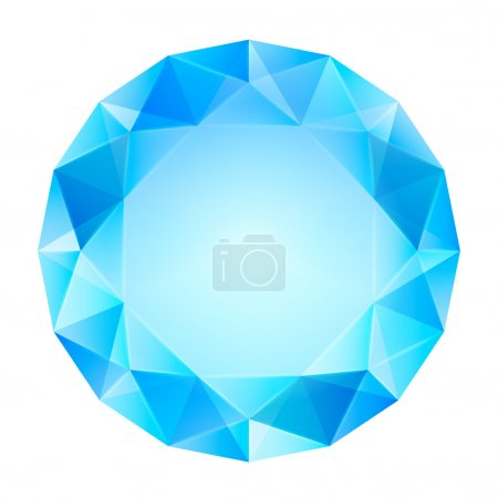 Blue clear diamond top view vector