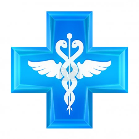 Blue health cross icon isolated