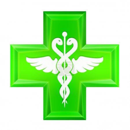 Illustration for Green health cross icon isolated vector illustration - Royalty Free Image