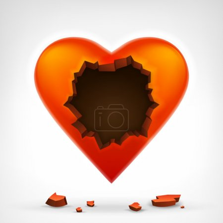 Red heart with cracked hole