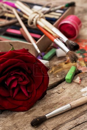 Photo for Color paints,crayons and pencils for drawing in old style - Royalty Free Image
