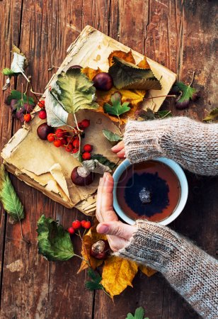 Photo for Female hand with a mug of warm autumn tea - Royalty Free Image
