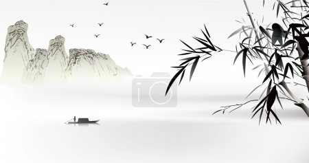 Illustration for Chinese painting - Royalty Free Image