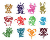 chinese 12 animals paper cut