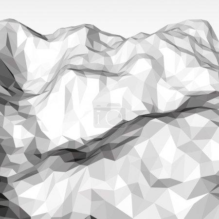 White abstract low-poly, polygonal triangular mosa...