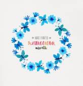 Azure Watercolor Wreath