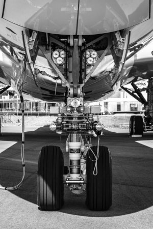 Front landing gear of the newest airplane Airbus A350-900 XWB.