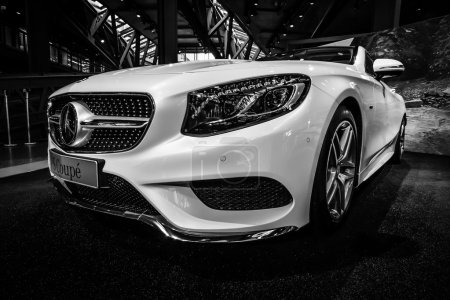 Showroom. Mercedes-Benz S 500 Coupe (C217). The newest luxury car (since 2014). Black and white.
