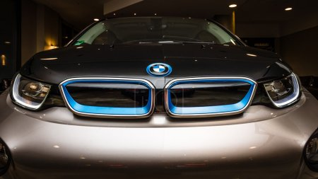 BERLIN - NOVEMBER 28, 2014: Showroom. The BMW i3, previously Mega City Vehicle (MCV), is a five-door urban electric car developed by the German manufacturer BMW.