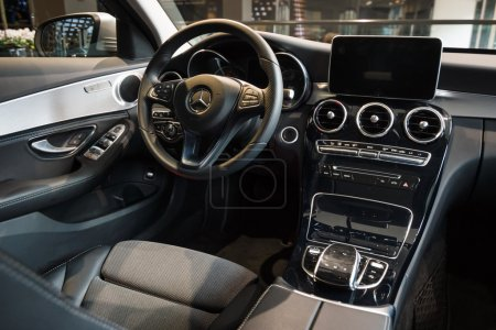 Showroom. Cabin of a compact executive car Mercedes-Benz C220 BT Limousine. Produced since 2014.