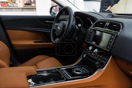 Cabin of the compact executive car Jaguar XE 20D (since 2015). The Classic Days on Kurfuerstendamm.