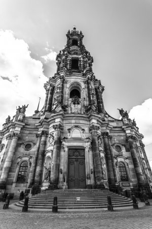Cathedral of the Holy Trinity (Katholische Hofkirche). Black and white. Dresden is the capital city of the Free State of Saxony.