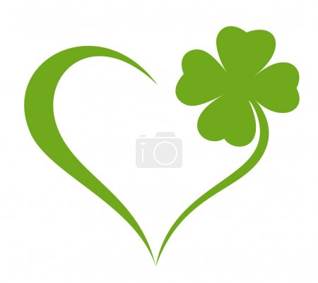 Heart icon with clover leaf icon