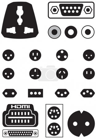 Illustration for Vector set of thirteen international sockets and video ports European EU to UK converter plug travel adapter isolated over white background. - Royalty Free Image