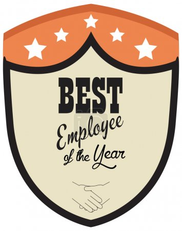 Vector promo label of best employee service award of the year.