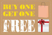 Buy one Get one Free label or tag vector with shopping bag
