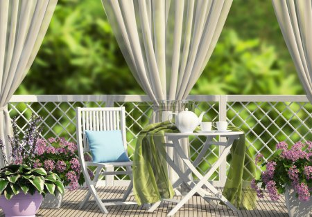 Terrace in the garden with curtains