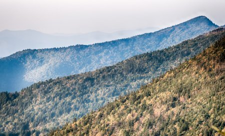 The simple layers of the Smokies at sunset - Smoky Mountain Nat.