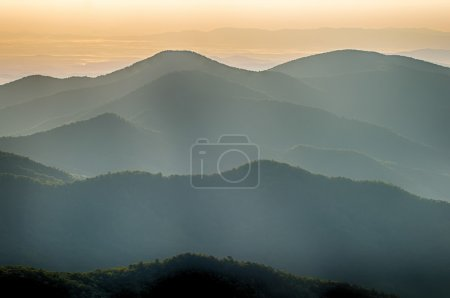 The simple layers of the Smokies at sunset - Smoky Mountain Nat.
