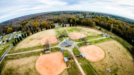 recreation area adjacent baseball fields aerial view