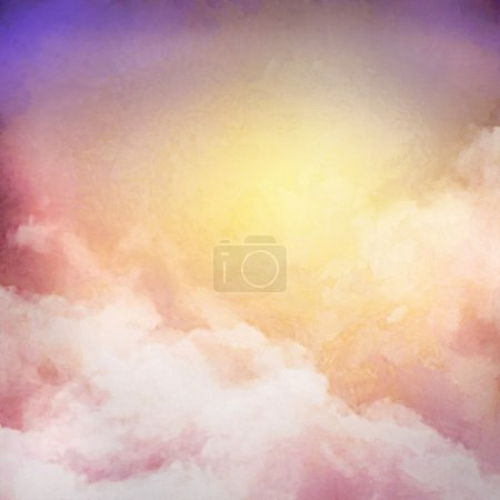 Photo for Sunrise sky digital watercolor painting abstract background - Royalty Free Image