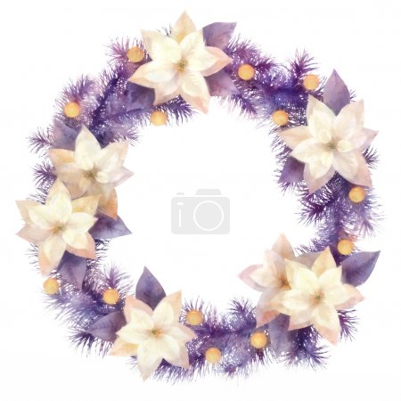 Photo for Christmas wreath with poinsettia flowers and decorations on white background. Watercolor illustration isolated on white background - Royalty Free Image