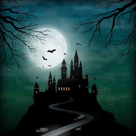 Illustration for Fantasy vector castle silhouette on the hill against moonlight sky with soft clouds texture - Royalty Free Image